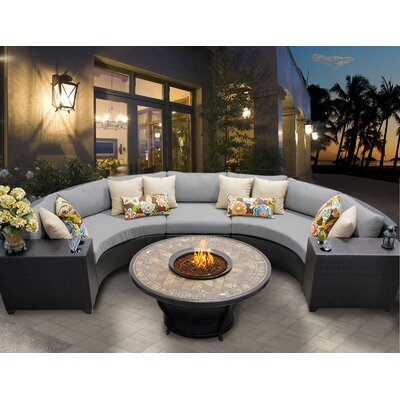 Barbados 6 Piece Fire Pit Seating Group with Cushion Fabric: Grey