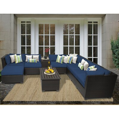 Barbados 10 Piece Sectional Seating Group with Cushion Fabric: Navy