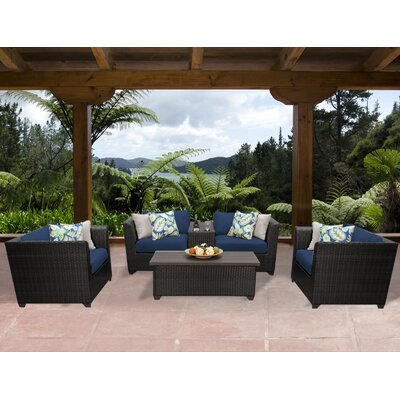 Barbados 6 Piece Deep Seating Group with Cushion Fabric: Navy