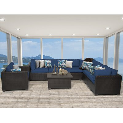 Belle 8 Piece Sectional Seating Group with Cushion Fabric: Navy