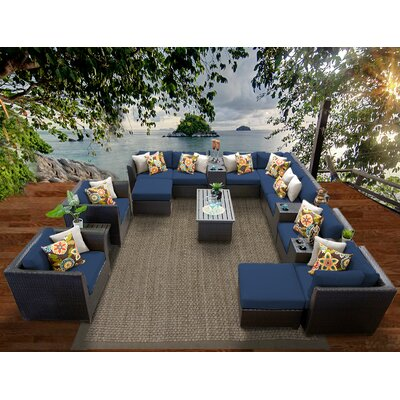 Barbados 17 Piece Sectional Seating Group with Cushion Fabric: Navy