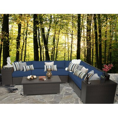 Barbados 9 Piece Sectional Seating Group with Cushion Fabric: Navy