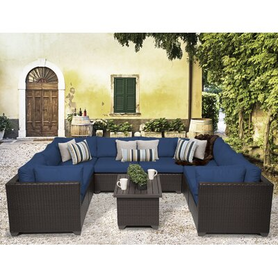 Belle 9 Piece Sectional Seating Group with Cushion Fabric: Navy