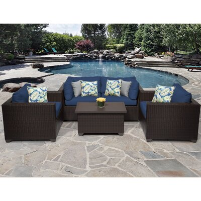 Belle 5 Piece Deep Seating Group with Cushion Fabric: Navy