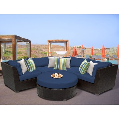 Barbados 4 Piece Sectional Seating Group with Cushion Fabric: Navy