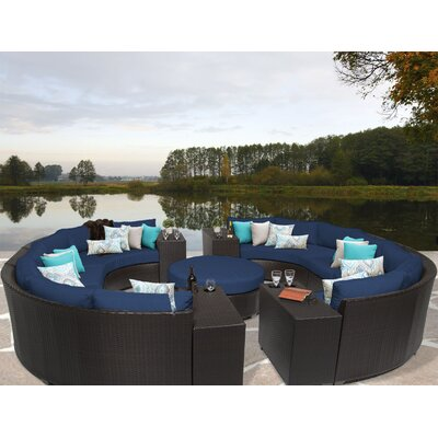 Barbados 11 Piece Sectional Seating Group with Cushion Fabric: Navy