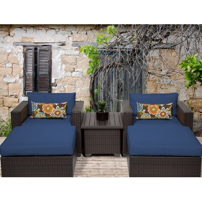Belle 5 Piece Seating Group with Cushion Fabric: Navy