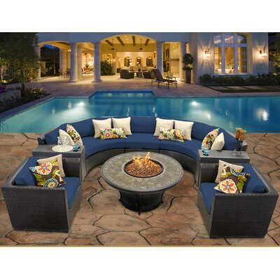 Barbados 8 Piece Fire Pit Seating Group with Cushion Fabric: Navy