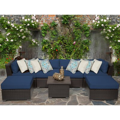 Barbados 7 Piece Sectional Seating Group with Cushion Fabric: Navy