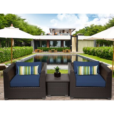 Barbados 3 Piece Deep Seating Group with Cushion Fabric: Navy