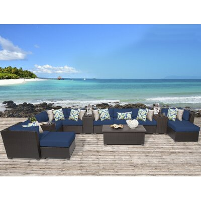 Barbados 14 Piece Sectional Seating Group with Cushion Fabric: Navy