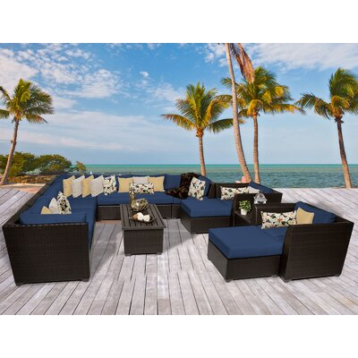 Barbados 13 Piece Sectional Seating Group with Cushion Fabric: Navy