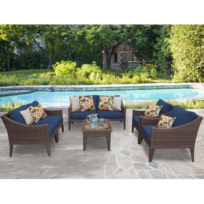 Manhattan 7 Piece Deep Seating Group with Cushion Fabric: Navy