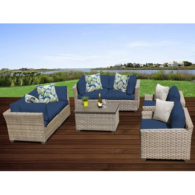 Monterey 7 Piece Deep Seating Group with Cushion Fabric: Navy