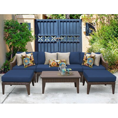 Manhattan 7 Piece Sectional Seating Group with Cushion Fabric: Navy