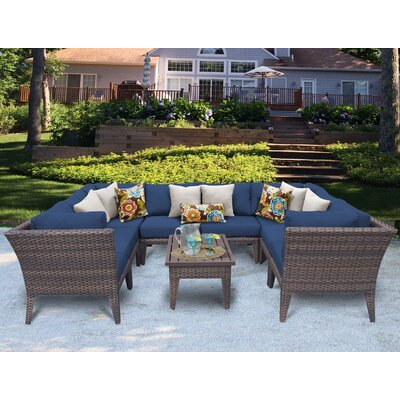 Manhattan 9 Piece Sectional Seating Group with Cushion Fabric: Navy