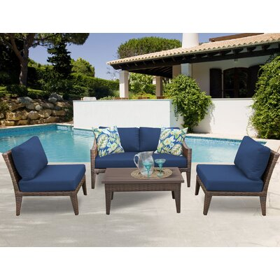 Manhattan 5 Piece Sectional Seating Group with Cushion Fabric: Navy