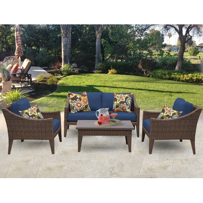 Manhattan 5 Piece Deep Seating Group with Cushion Fabric: Navy