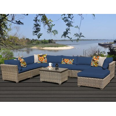 Monterey 9 Piece Sectional Seating Group with Cushion Fabric: Navy
