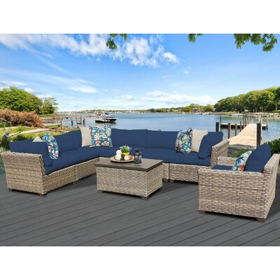 Monterey 8 Piece Sectional Seating Group with Cushion Fabric: Navy