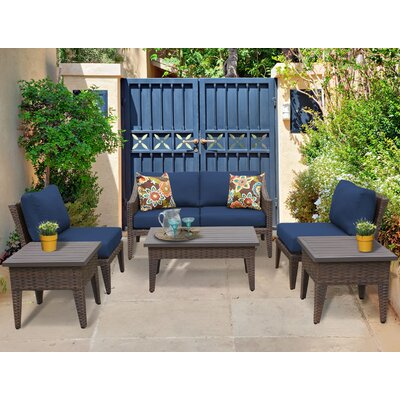 Manhattan 7 Piece Deep Seating Group with Cushion Fabric: Navy