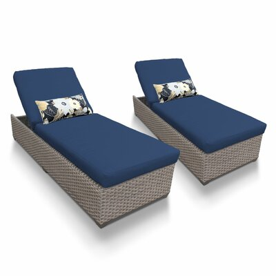 Chaise Lounge with Cushion Fabric: Navy