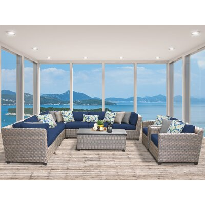 Florence 10 Piece Sectional Seating Group with Cushion Fabric: Navy