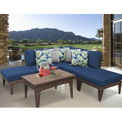 Manhattan 6 Piece Sectional Seating Group with Cushion Fabric: Navy