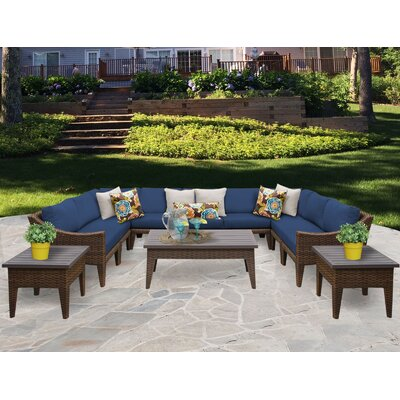 Manhattan 12 Piece Sectional Seating Group with Cushion Fabric: Navy