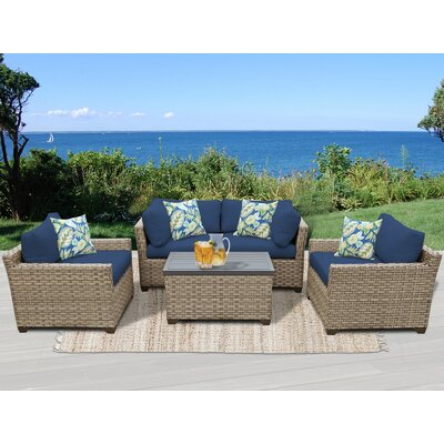 Monterey 5 Piece Deep Seating Group with Cushion Fabric: Navy