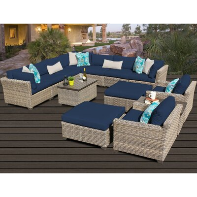 Monterey 13 Piece Sectional Seating Group with Cushion Fabric: Navy