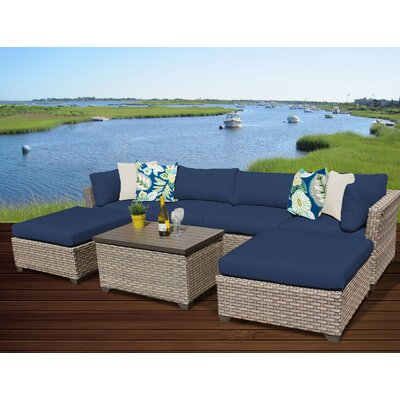 Monterey 7 Piece Sectional Seating Group with Cushion Fabric: Navy