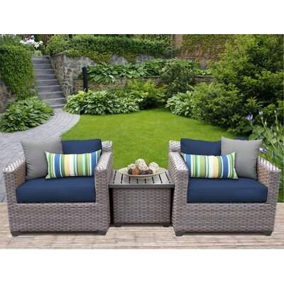 Florence 3 Piece Lounge Seating Group with Cushion Fabric: Navy