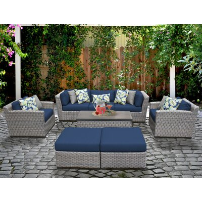 Florence 8 Piece Deep Seating Group with Cushion Fabric: Navy