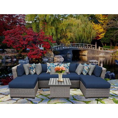 Florence 7 Piece Sectional Seating Group with Cushion Fabric: Navy