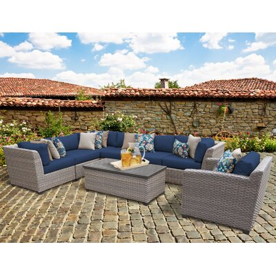 Florence 8 Piece Sectional Seating Group with Cushion Fabric: Navy