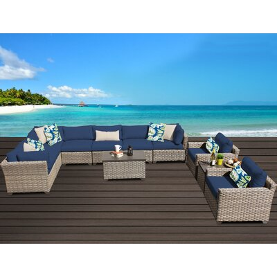 Monterey 11 Piece Sectional Seating Group with Cushion Fabric: Navy