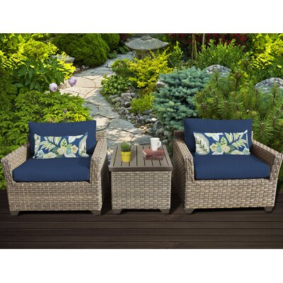 Monterey 3 Piece Lounge Seating Group with Cushion Fabric: Navy