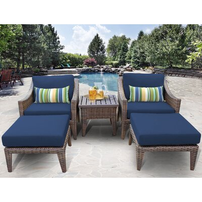 Manhattan 5 Piece Lounge Seating Group with Cushion Fabric: Navy