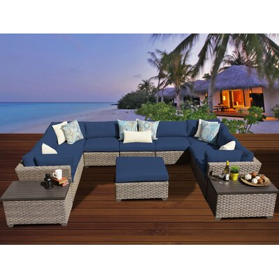 Monterey 12 Piece Sectional Seating Group with Cushion Fabric: Navy