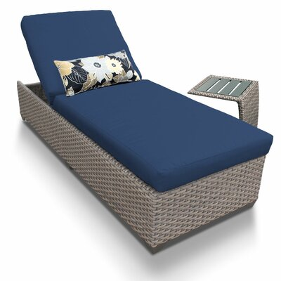2 Piece Chaise Lounge Set with Cushion Fabric: Navy