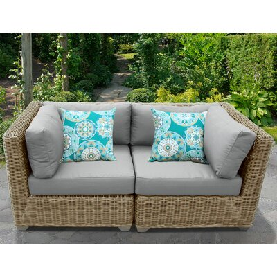 Cape Cod Outdoor Wicker Patio 2 Piece Deep Seating Group with Cushion Fabric: Gray