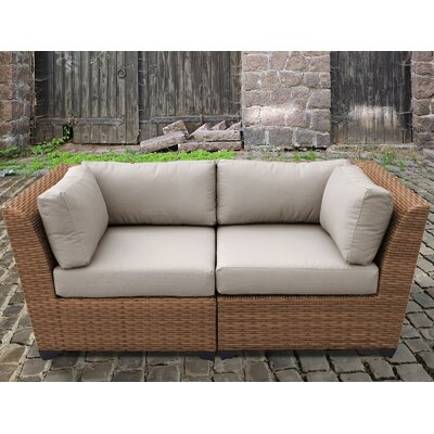 Laguna Outdoor Wicker Patio 2 Piece Deep Seating Group with Cushion Fabric: Beige