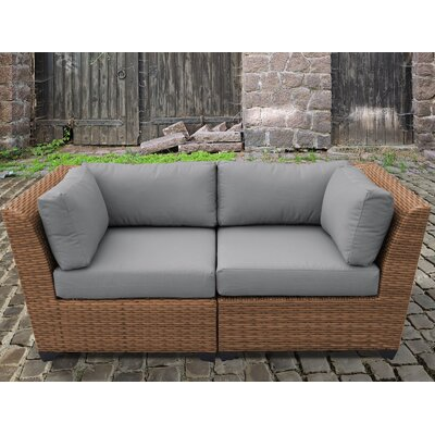 Laguna Outdoor Wicker Patio 2 Piece Deep Seating Group with Cushion Fabric: Gray