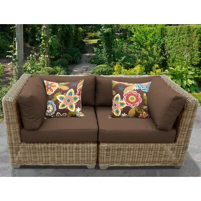 Cape Cod Outdoor Wicker Patio 2 Piece Deep Seating Group with Cushion Fabric: Cocoa