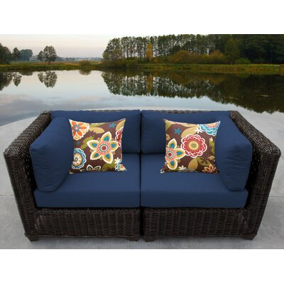 Venice Outdoor Wicker Patio 2 Piece Deep Seating Group with Cushion Fabric: Navy