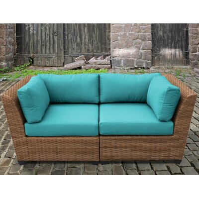 Laguna Outdoor Wicker Patio 2 Piece Deep Seating Group with Cushion Fabric: Aruba