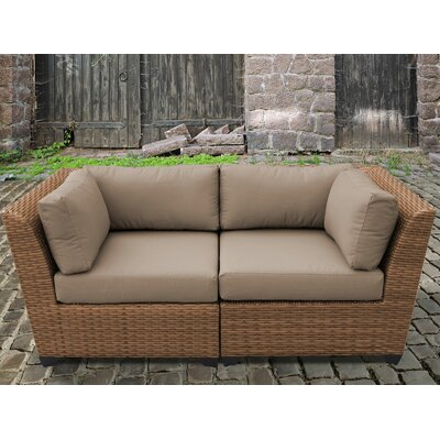 Laguna Outdoor Wicker Patio 2 Piece Deep Seating Group with Cushion Fabric: Wheat