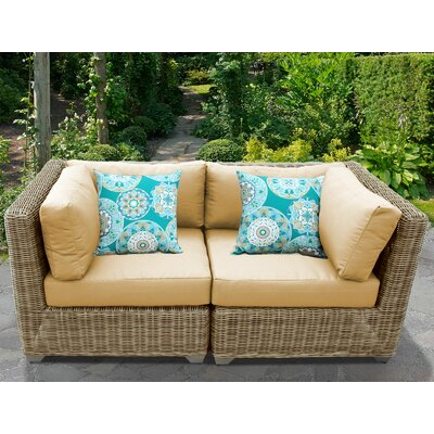 Cape Cod Outdoor Wicker Patio 2 Piece Deep Seating Group with Cushion Fabric: Sesame