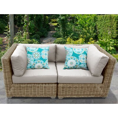 Cape Cod Outdoor Wicker Patio 2 Piece Deep Seating Group with Cushion Fabric: Beige